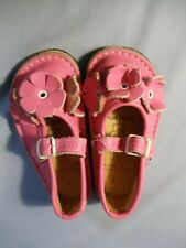 Bear Feet Little Girl Sz 7 Flower Power Pink Handmade Leather Mary Jane Shoes
