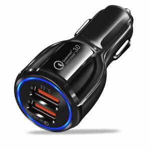 CARICABATTERIE PRESA ACCENDISIGARI USB DOPPIO AUTO UNIVERSALE SMARTPHONE QUICK 3