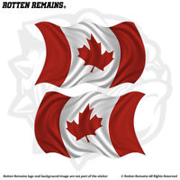 Canada Waving Flag Decal Sticker SET Canadian Vinyl Car Bumper EMV
