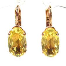 SoHo® Ohrringe Ohrhänger rosegold gelb ovale bohemia Glassteine 1930er Jahre