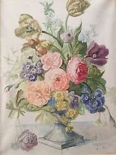 Signed handmade aquarel painting with flowers