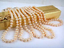 """Wholesale 5pcs 7-8mm Genuine Natural Pink Akoya Cultured Pearl Necklace 18"""""""