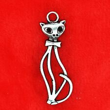 4 x Tibetan Silver Tall Cat Charm Pendant Jewelry Making Craft