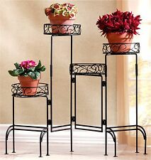 FOUR-TIER BLACK METAL VERSATLE STYLE PLANT STAND FOLDABLE SCREEN ** NIB