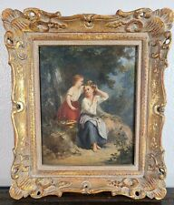 Antique Oil Canvas Painting Young Woman Girl Landscape 19th C French English