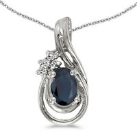 14k White Gold Oval Sapphire And Diamond Teardrop Pendant (Chain NOT included)