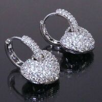 Sparkling Round Cubic Zirconia Heart Stud Earring Women Jewelry 14K Gold Plated