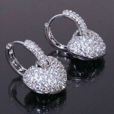 Round Cubic Zirconia Heart Pave Huggie Earrings Women Jewelry 14K Gold Plated