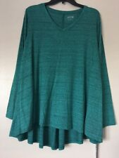 Apt.9 Womens Plus Size 1X Green Long Sleeve Essential Lurex V-Neck Tee NWT