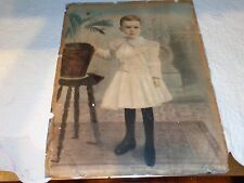 Large Antique 19th.c Photographic Print On Lead Sheet of a Little Boy, Signed
