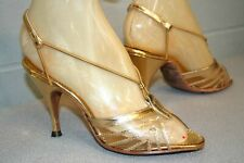 Rare Exclusively Yours Marilyn Vtg 1950s 6.5 Gold Metallic Spike Heel PinUp Shoe