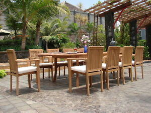 """Lua 11 pc Dining 94"""" Oval Table Arm Stacking Chair Set A-Grade Teak Outdoor New"""