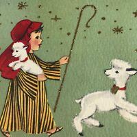 Vintage Mid Century Christmas Greeting Card Cute Little Shepherd Boy Lambs Sheep