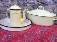 Vintage French Enamelware Yellow Enamel Coffee Pot Tea Graniteware Roaster Tray
