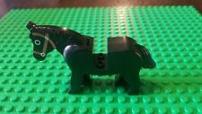 Lego Horse Animal Minifig - Black w/ Brown Bridle - Classic Castle Western