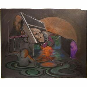 Original Cool Britannia Acrylic Surrealist Puppeteer Painting Unsigned Shelley