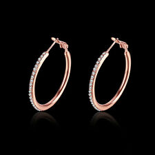 Women's Fashion Round Rose Gold Plated Cubic Zirconia Hoop Earrings 1.3""