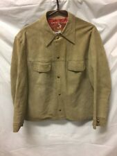 Startown Vintage Mens Brown Brushed Leather Jacket Sz 44 Metal Button sueded