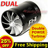 For FORD Air Intake Dual Fan TURBO Supercharger Turbonator Gas Fuel Saver BLACK