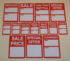 Bright Red Sale Was Now Reduced Price Point Stickers Sticky Labels Tags
