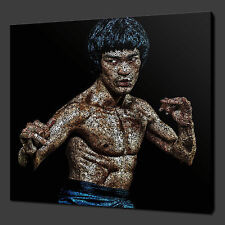 "BRUCE LEE TYPOGRAPHY ART CANVAS WALL ART PICTURES PRINTS 12""x12"" FREE UK P&P"
