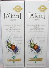 Lot Of 2 A'Kin Lavender & Geranium Body Moisturiser 6.8 oz Each ** REDUCED
