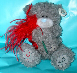 """Me To You 9"""" Tatty Teddy Grey Bear Holding Red Rose & Feathers"""