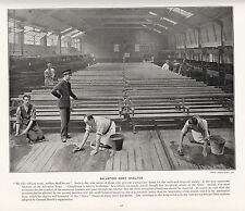 1897 VICTORIAN PRINT ~ SALVATION ARMY SHELTER ~ MEN CLEANING FLOOR ~ BUNK BEDS