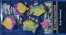 Fish Fantasy~12 Shower Curtain Hooks~Ocean~Beach~Saltwat er Aquarium~Nautical~New