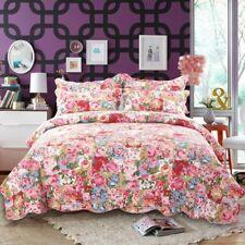 Cotton Patchwork Coverlet Bedspread Quilt Set Pillowcase 3 Piece Queen King Size