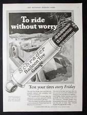 Original 1926 Schrader Tire Gauge Ad 10 x 13.5 TO RIDE WITHOUT WORRY