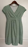 Boden Jersey Dress Short Sleeve Green White Geometric Print V-Neck 2P Petite