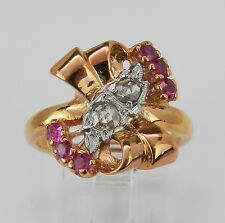 Retro Diamond and Ruby Cocktail Ring Vintage 14K Pink Gold Rose Cut Size 6.25