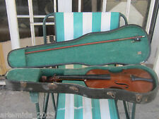 Antique Old French Violin NICOLAS BERTHOLINI with 1 Bow and Hard Case FOR REPAIR