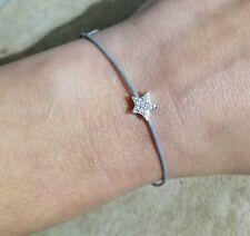 Adjustable Grey Cord Bracelet Sterling Silver Star Bead Crystal