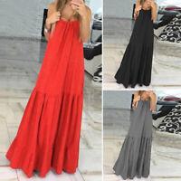 Women Sleeveless Spaghetti Strap Pleated Dress Loose Ruffle Long Maxi Dress Plus