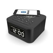 Black Lightning Docking Station Bluetooth Alarm Clock FM Radio