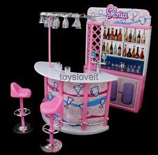 Doll House Miniature Bar Wine Bottles Stools Play Set For Barbie Sindy Dolls