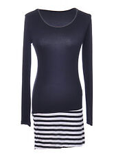 Slim Black White Striped Bottom Long Sleeve Casual Dress Tunic Mercerized Cotton