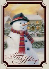 Christmas Snowman With hat And Scarf Christmas Holiday Greeting Cards