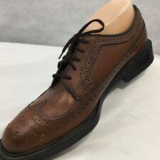 Vtg Sears Wonder Lite Shoes Pebble Brown Long Wingtip Sz 8 D Leather Textured