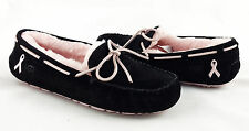 UGG Dakota Breast Cancer Awareness Black Pink Fur Slippers Size 8 *NEW*
