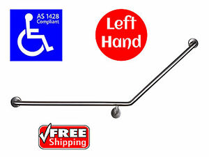 40 DEGREE SAFETY RAIL LEFT HAND AS1428 GRAB BAR DISABLED TOILET STAINLESS STEEL