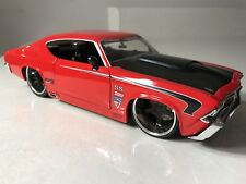 EUC! JADA 1:24 BIGTIME MUSCLE 1969 CHEVY CHEVELLE SS DIE CAST RED W/BLACK HOOD