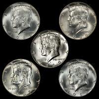 """1965 1966 1967 1968 1969 Kennedy Half Dollar (5 Coin Set) 40% SILVER """"AU"""""""