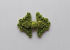 6 pairs green bead butterfly Chinese Frogs closures buttons sewing DIY cheongsam