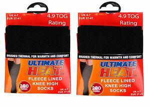 2 Pairs Women's Girl's Heat Warm Winter Thermal Fleece Lined Knee High Socks 4-7