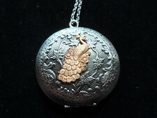 ANTIQUE SILVER BEAUTIFUL PEACOCK LOCKET  LARGE