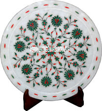 "12"" Marvelous Marble Designer Plate Floral Art Malachite Inlay Decor Table Arts"