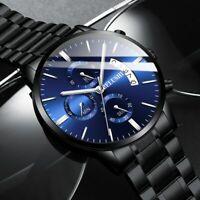 Herrenuhr Armbanduhr Edelstahl Chronograph Analog Uhr Schwarz Silber Farben NEU